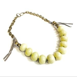 Fossil Yellow Beaded Necklace With Gray Leather